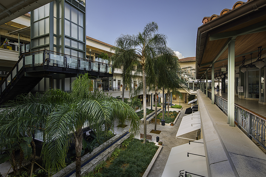 Next to a courtyard lined with palm trees, shoppers stroll around walkways lining two levels of stores at Shops at Merrick Park.